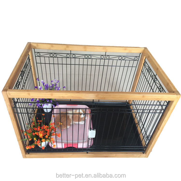 Wooden wire pet fence dog cage Teddy wood iron cage kennel