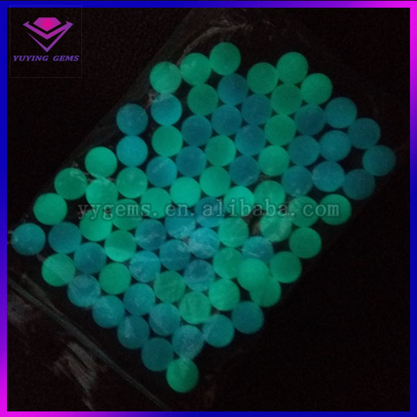 Top quality syntheticl round smooth green and blue luminous gemstone loose beads