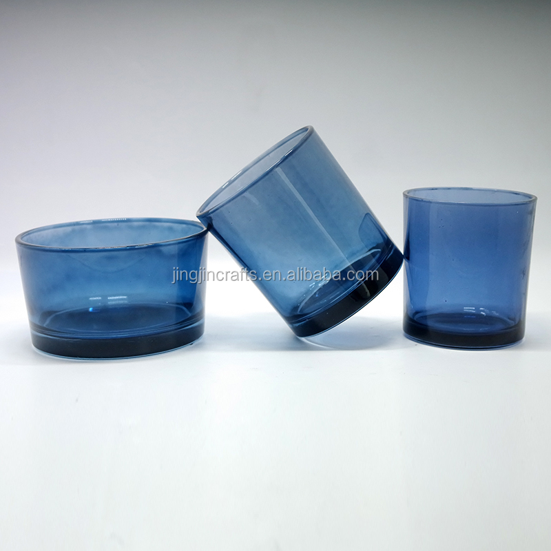 2018 Hot Wholesale Dark Blue Color Flat Bottom Glass Candle Jar Holder With Wooden Lid
