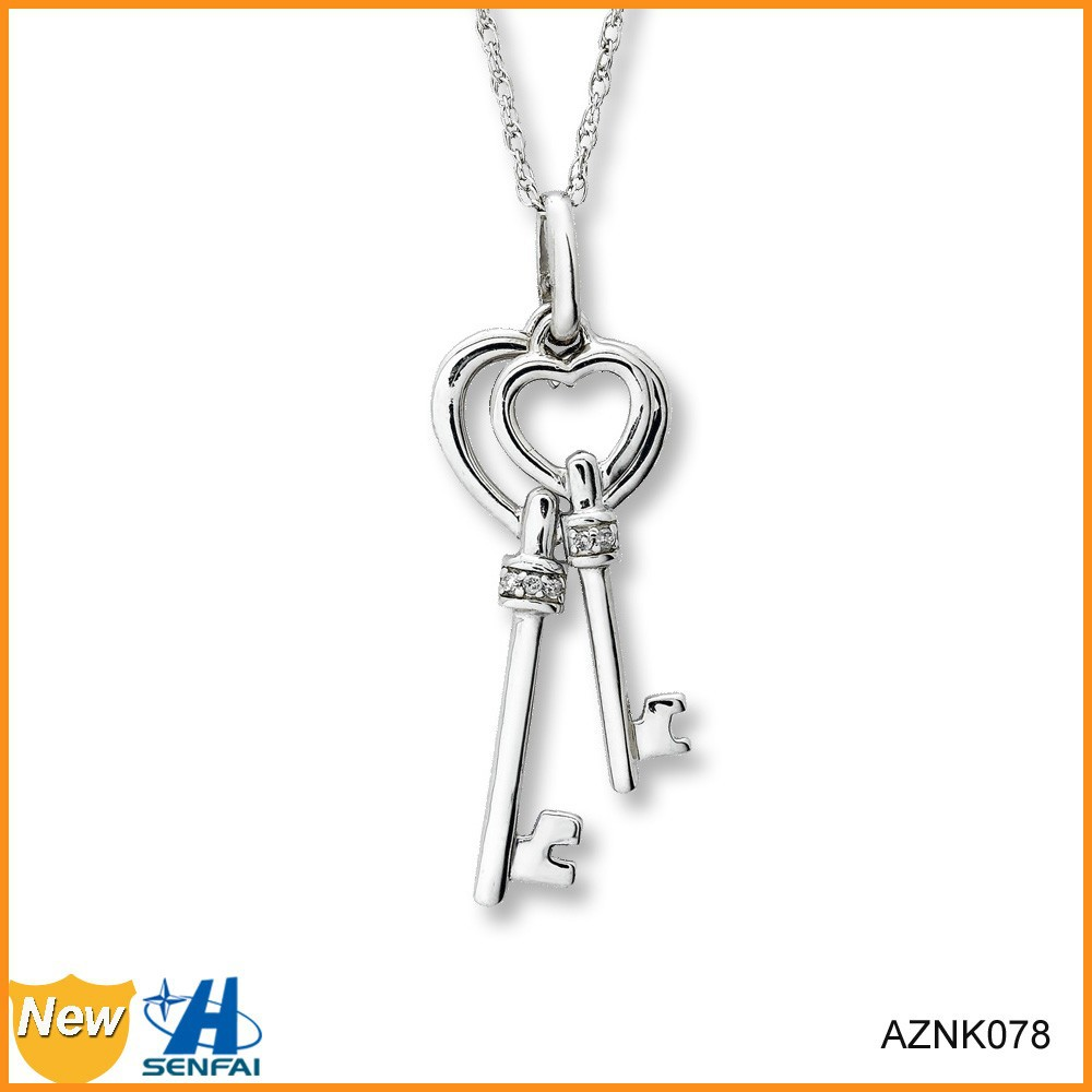 Wholesale Custom Couple Keys Clear Crystal Silver Color Metal Key Necklace
