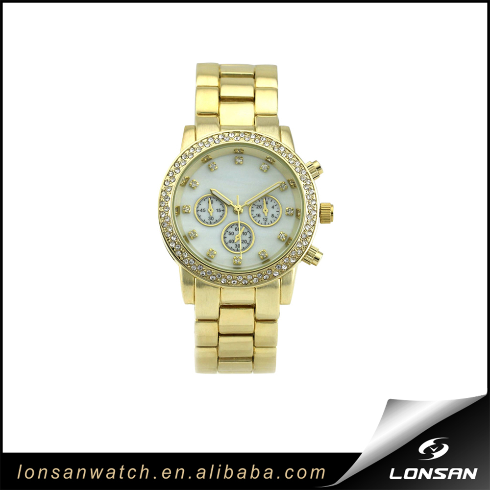 Fashion GOLD Ladies' Alloy watch with gems