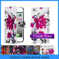For Apple Iphone Hot Selling Leather Wallet Case Iphone 5 Flip Cover Purple Rose