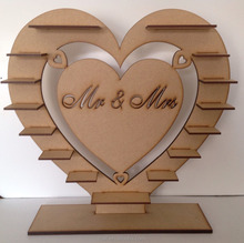 wooden heart shape chocolate display stand for home decor