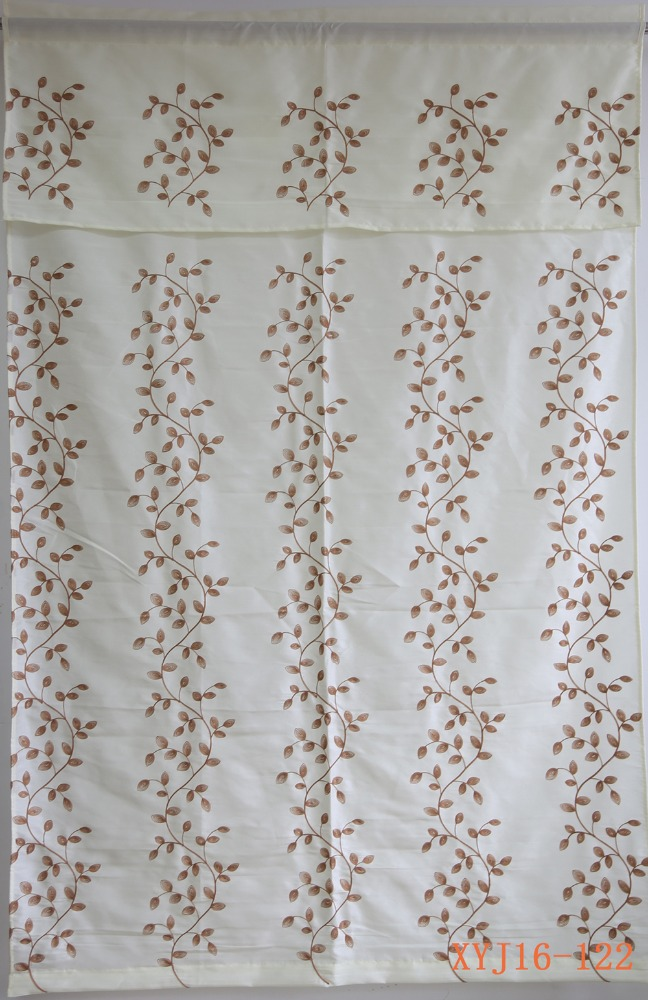 New curtain design polyester faux silk embroidered valance curtain for decor