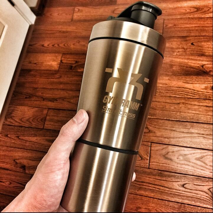 Luxury gold color shaker bottle, Custom logo 18/8 steel shakers