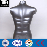 New Plastic Silver Man Inflatable Mannequin Top Dummy Male Half Body TopTank Vest Shirt Display Muscle Dummy Torso