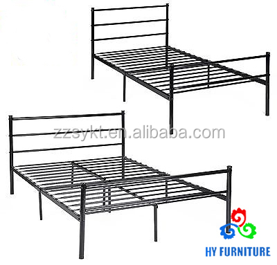 Twin over full size steel tube frame double metal platform bed with legs support