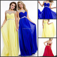 2014 Party Time New Arrival Flowing A-Line Chiffon Sheer Neckline Vestidos De Fiesta Cap Sleeve Beaded Decorated Long Prom Gown