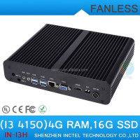Industrial Embedded Fanless PC Car Computer i3 4150 with Intel Core i3 4150 3.5Ghz VGA display 4G RAM 16G SSD