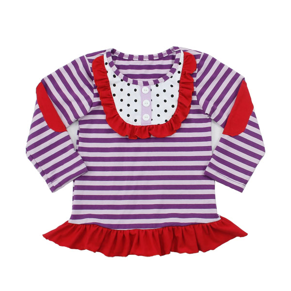 Bulk newest children striped long sleeve ruffle boutique fashion girls t shirts