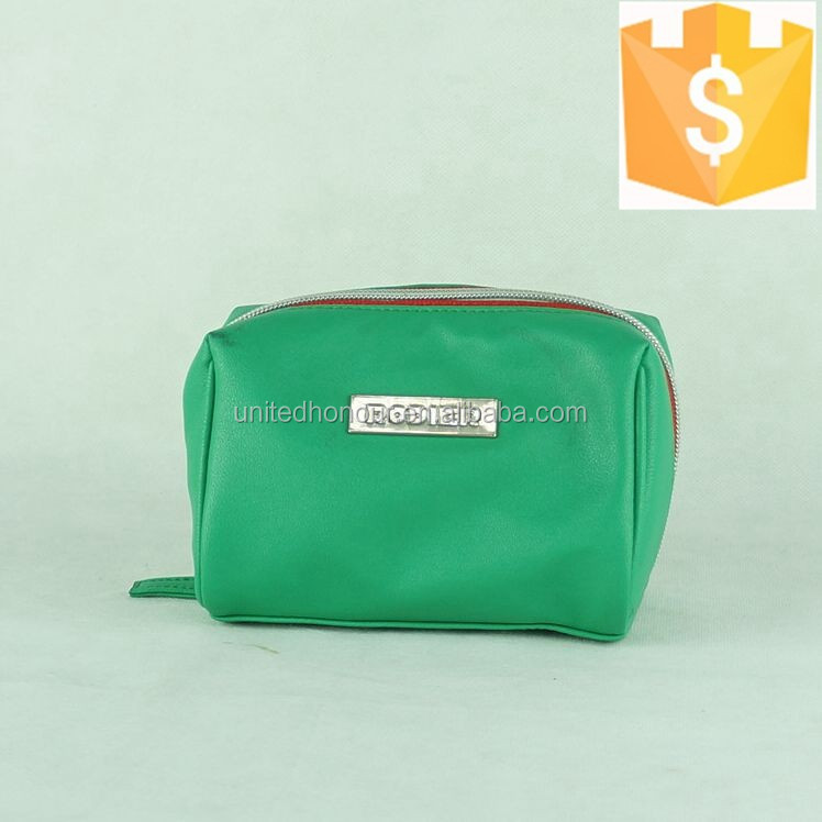 2015 soft leather green pattern cute girls small clutch cosmetic bags
