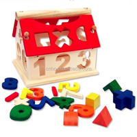 Popular Intelligent Wooden Block Puzzle House Shape toy for kids