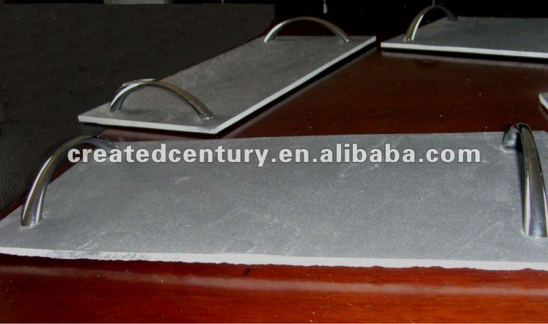 Natural slate handle serving tray with metal handle
