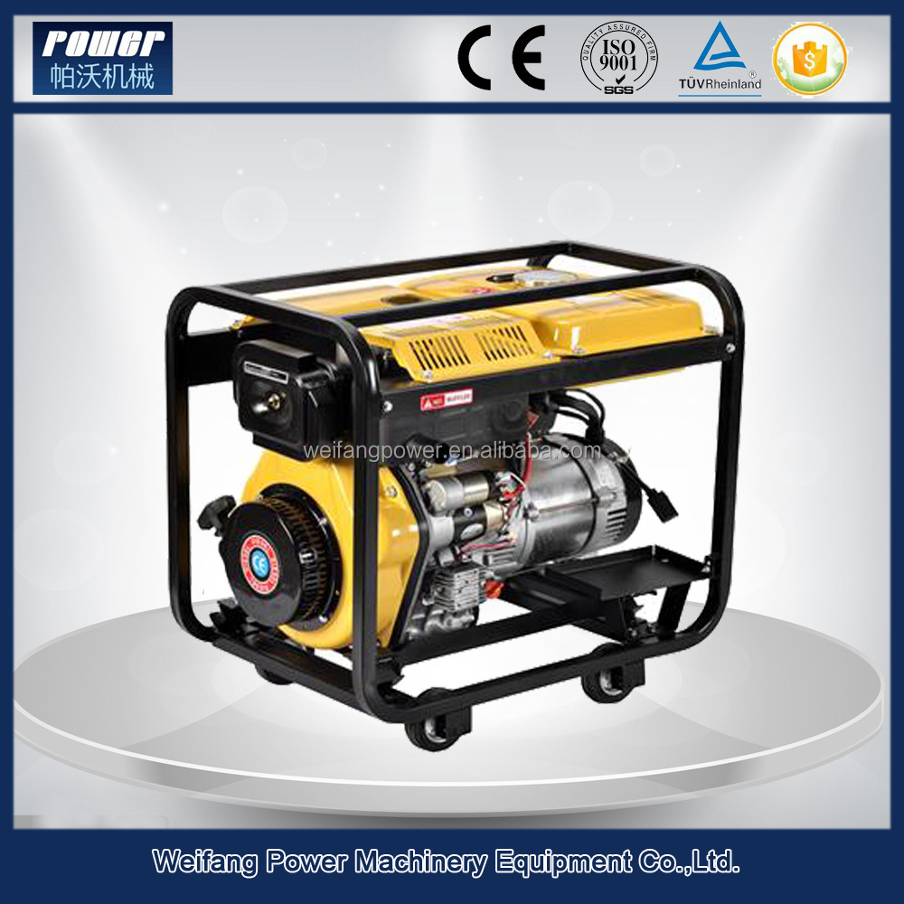 4kw portable home use air-cooled diesel generator, silent / open type optional
