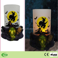 Led candle light Halloween decoration polyresin witch ghost skull lights