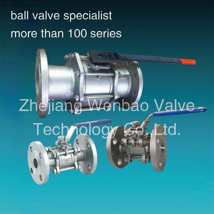 Flanged three piece Lever operated ball valve carbon steel stainless steel 4.4308 ball valve