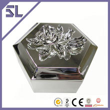 Customized Logo Printed Decorative Rose Hexagon Jewelry Trinket Box Diamond Jewelry Box Crystal Pearl Jewelry Box