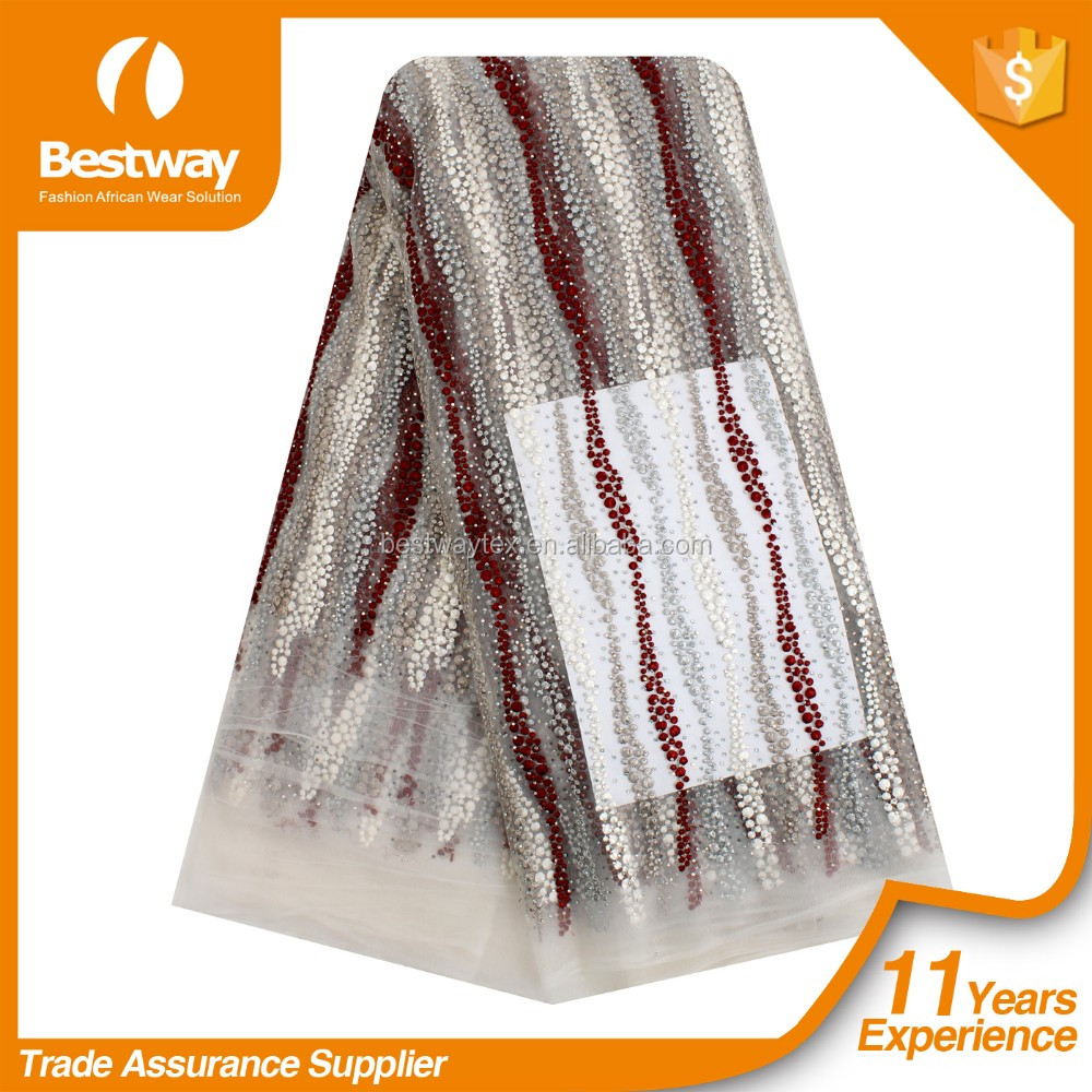 Funky Design Bestway Only FL1164 Full Beads African Lace Fabrics High Quality 5 Yards