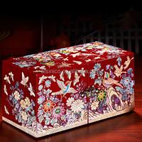 Elegant Marquetry Seashell Lacquerware Decorative Wedding Jewelry Box, Unique Double Layer Wooden Storage Gift Box