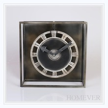 Square Metal Art Craft Table Clock With Roman Numerals