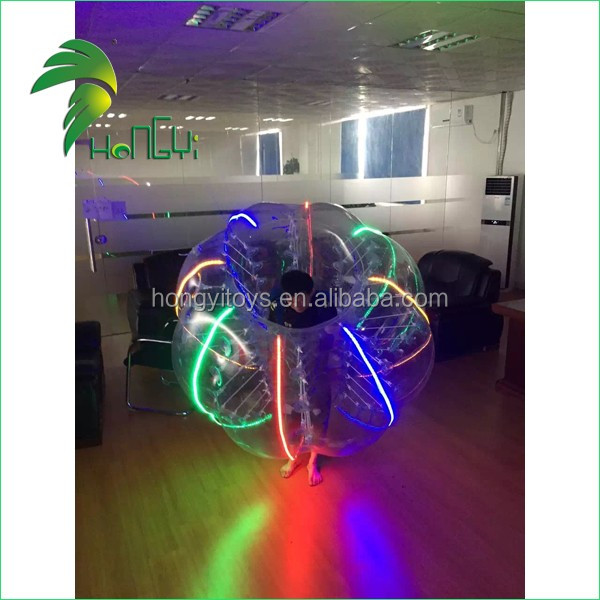 Hot Sale PVC Inflatable Zorb Ball With Led Light , Outdoor Lighting Inflatable Rolling Ball , Scroll Ball For Sports