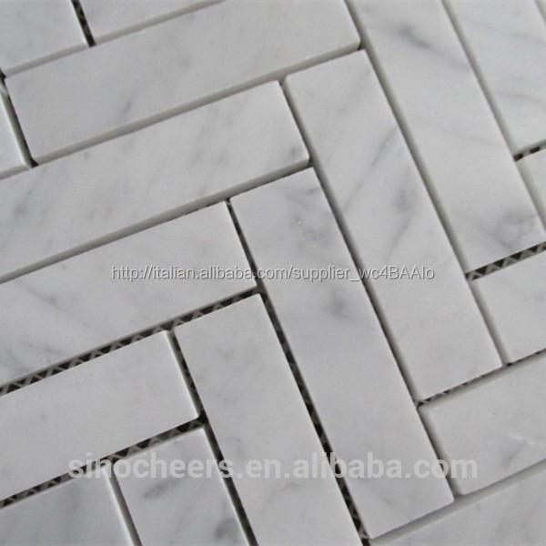 L'alto  fine corrara mosaico di marmo bianco a spina di pesce ...
