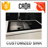 cadia chinese face wash bowl handmade high quality utility tempered glass kitchen sink with single drain parts
