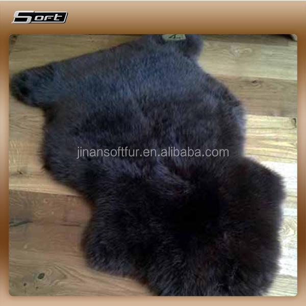 Real Thick Black Shaggy Sheepskin Rug Genuine Sheepskin