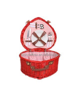 Festival romantic heart shape red wicker wedding picnic basket for newly-married