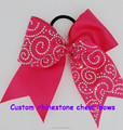Rhinestone Cheer Bows with Elastic Band for Baby Girl