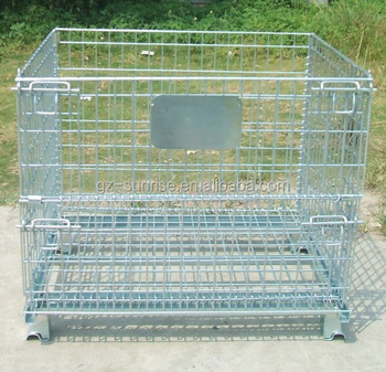 Wire Mesh Container Pallet Metal Logistic Box Steel Stackable Collapsible Galvanized Storage Cage