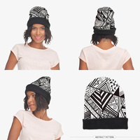 2015 New Fashion 3D Digital AZTEC BLACK Print Warm Hat Women Funny Knitting Beanie