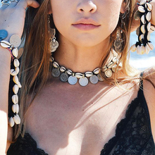 Bohemia Maxi <strong>Necklaces</strong> & Pendants Steampunk Bib Choker wave Leather Seashell Coins Choker <strong>Necklace</strong> collares Women Beach Jewelry