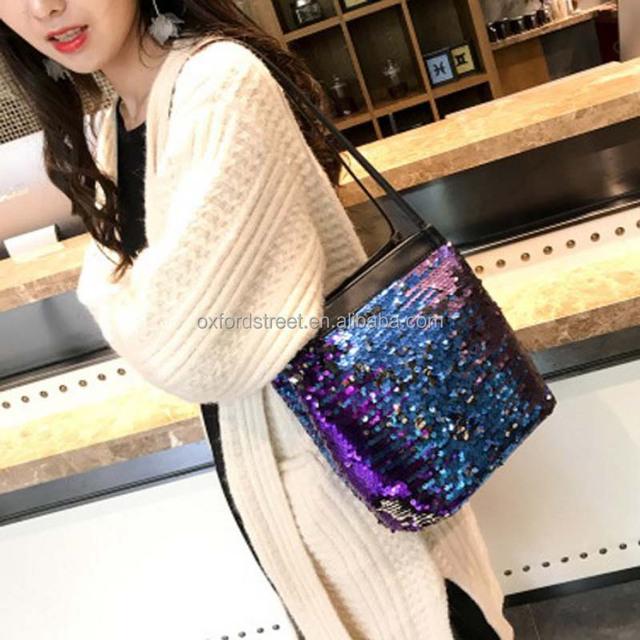 2018 new fashion color bangalor portable bag all-match sequins wholesale PU hand stitching Baigou trend