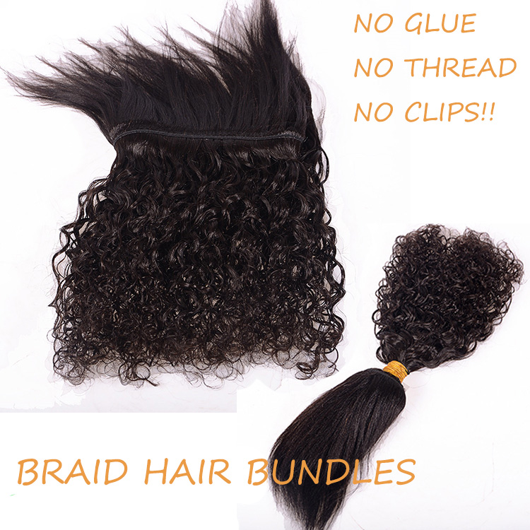 New Premium Glueless Hair Weave Virgin Brazilian Human Braid Hair Bundles No Thread Braid In Hair Bundles