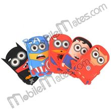 New Design Minions Despicable Me 2 Spiderman Superman Batman 3D Silicone Case for iPod Touch 4