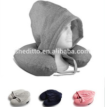 Skin fabric knitted jersey airplane sleep neck message SGS certificated memory foam filled cowl travel pillow hoodie