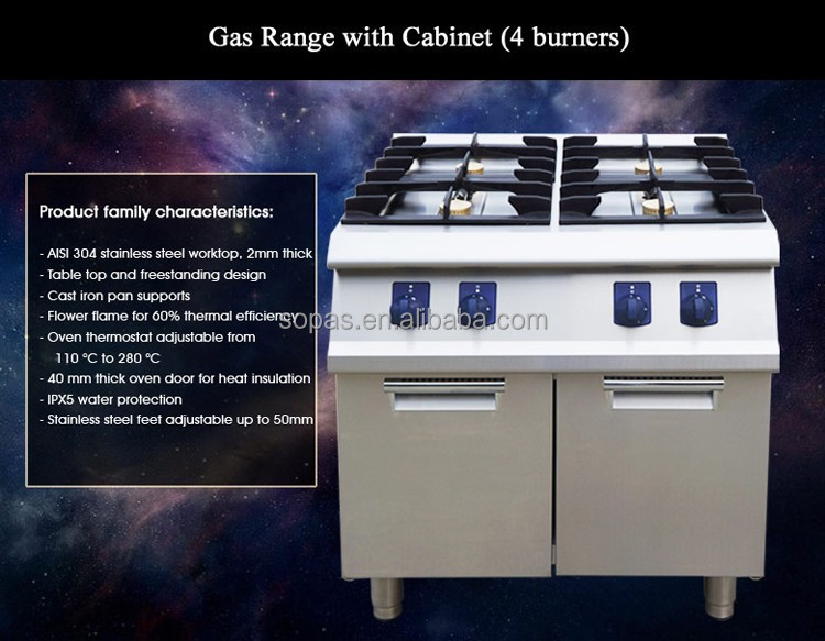 700 Series Brand Western Cooking Gas Stove With Cabinet