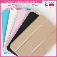 For iPad Two Folding Leather Cover Case Transparent TPU Case For iPad Mini