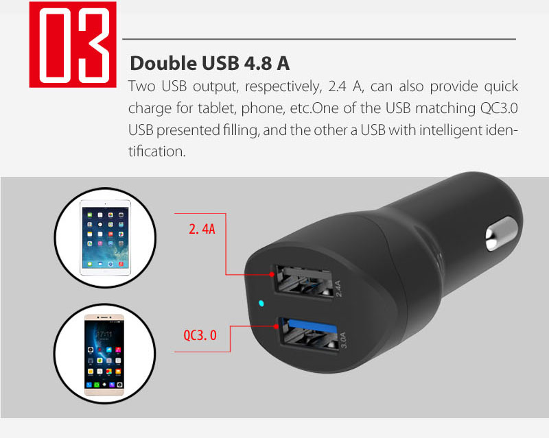 4.8A Dual USB Car Charger With QC3.0