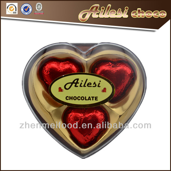 Wholesale milk chocolate Valentine heart chocolate in gift box for chocolate distributors