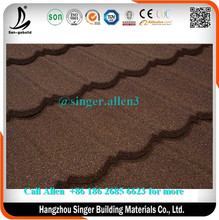 Coffee Brown classic Bond nigeria style aluminum zinc stone coated metal roofing tile