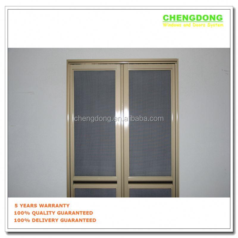 Aluminum Mosquito Folding Screen Door With Hinges Fixed