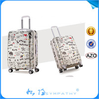 Cabin size colorful trolley case/plastic suitcase