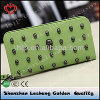 2014 fashion trendy wallets for women tumbled in skull
