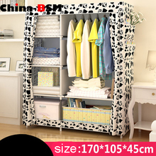Home furniture Plastic Portable Folding Fabric steel wardrobe