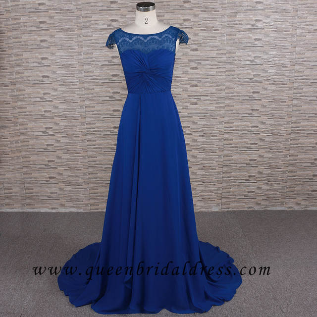 Real Photo cap sleeves lace royal blue bridesmaid dress