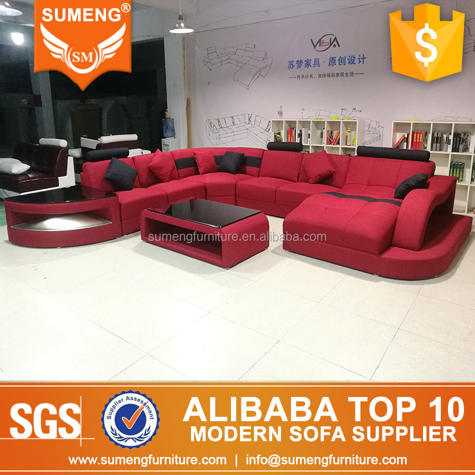 SUMENG living room fashion red black fabric sofa couch