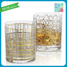 Fashion Gold and platinum strands wave sparkle pattern texture onto entertaining glassware Crafted in Poland greet bar glass