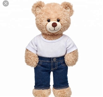 brand teddy bear plush toy with jeans clothes and pant